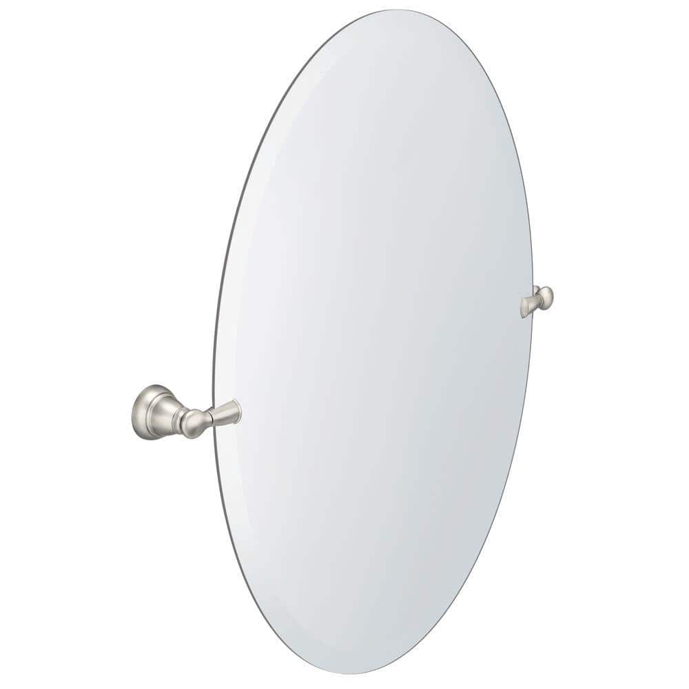 Moen Banbury 26 In X 23 In Frameless Pivoting Wall Mirror In Brushed Nickel Y2692bn The Home Depot