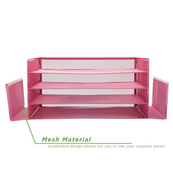 Mind Reader Mesh 4 Section 2 Side, Pink School Desk Organizer