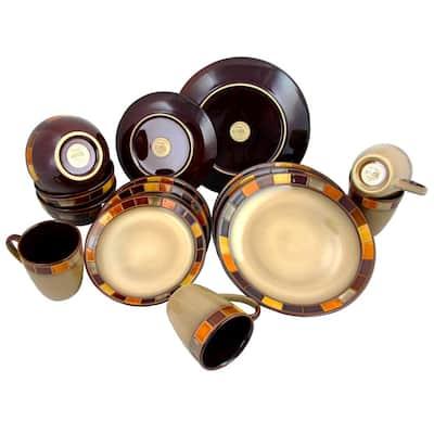 Casa Estebana 16-Piece Casual Beige Earthenware Dinnerware Set (Service for 4)