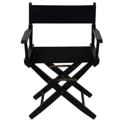 18 in. Seat Height Extra-Wide Black Frame/Black Canvas New, Solid Wood Folding Chair, Set of 1