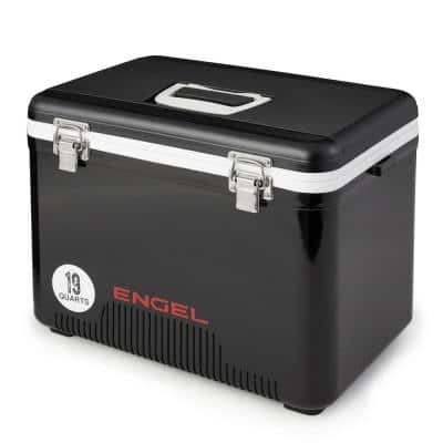 13 qt. 18-Can Leak Proof Odor Resistant Insulated Cooler Drybox, Black