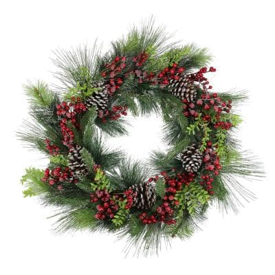 32 in. Unlit Iced Red Berries and Mixed Pine Artificial Christmas Wreath