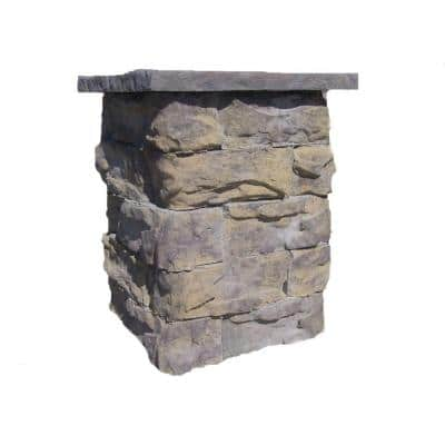 36 in. Concrete Tall Fossill Limestone Column Kit with Top Cap