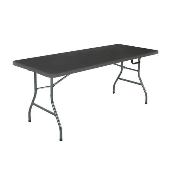 Cosco 72 In Black Metal Fold Half Folding Banquet Table 14678blk1 The Home Depot