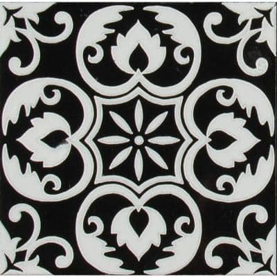 Tetris Florita Nero 6 in. x 6 in. Polished Marble Wall Tile (5 sq. ft./case)