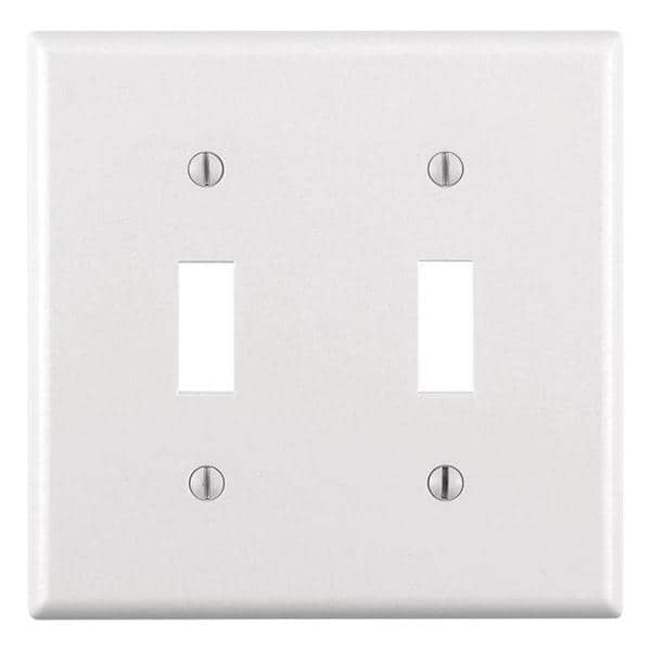 Leviton White 2 Gang Toggle Wall Plate 1 Pack R52 88009 00w The Home Depot