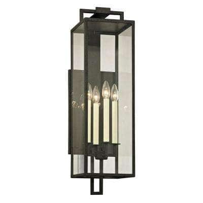 Beckham 4-Light Forged Iron 28.5 in. H Outdoor Wall Lantern Sconce with Clear Glass