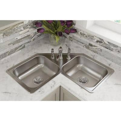 Dayton Elite Drop-In Stainless Steel 32 in. 3-Hole Double Bowl Kitchen Sink