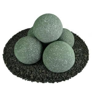 6 in. Set of 5 Ceramic Fire Balls in Slate Green Speckled