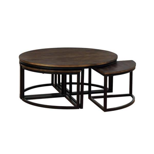 Alaterre Furniture Arcadia 42 In Antiqued Mocha Black Large Round Wood Coffee Table With Nesting Tables Anar1275 The Home Depot