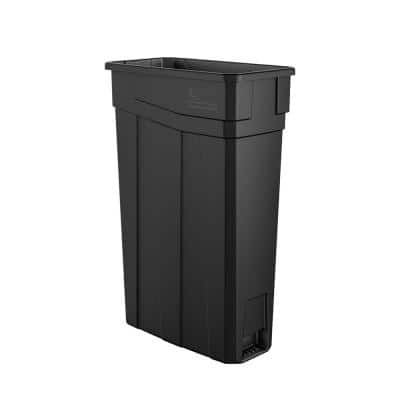 Slim 23 Gal. Black Plastic Trash Can