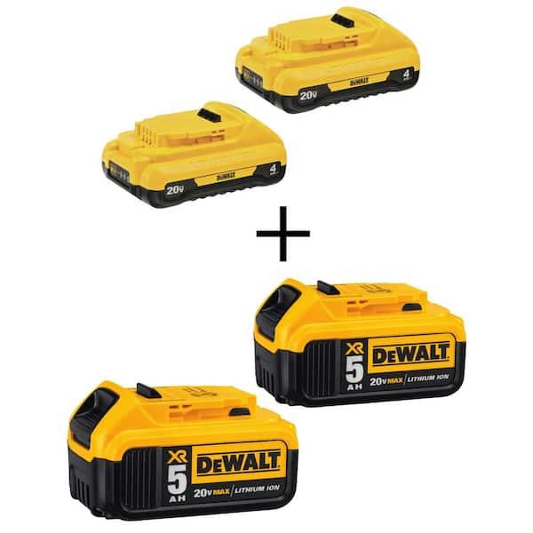 DEWALT 20-Volt MAX XR Lithium-Ion Premium (2) 4.0Ah Compact Batteries with (2) 5.0Ah Batteries   The Home Depot