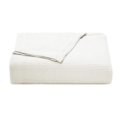 Baird White Solid Cotton King Knitted Blanket