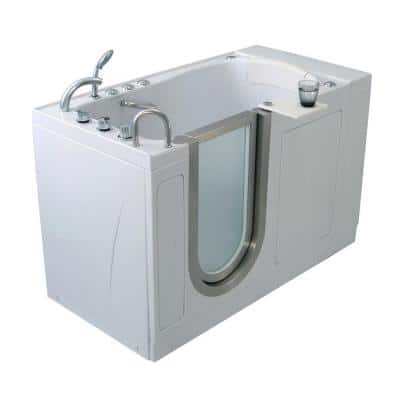 Elite 4.33 ft. x 30 in. Acrylic Walk-In Dual (Air and Hydro) Massage Bathtub in White with Left Drain/Door