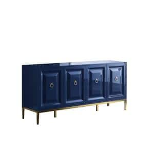 Rue 66'' High Gloss with Gold Accent Modern Sideboard, Blue