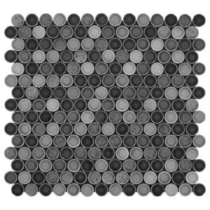 Decor Accents Hanlon Bee 10 in. x 11 in. x 8 mm Porcelain Penny Round Mosaic Floor and Wall Tile (0.83 sq. ft./Each)