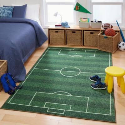 Soccer Field Green 3 ft. x 5 ft. Contemporary Area Rug