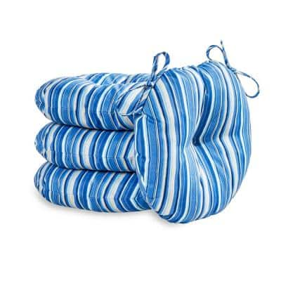 Sapphire Stripe 18 in. Round Outdoor Seat Cushion (4-Pack)