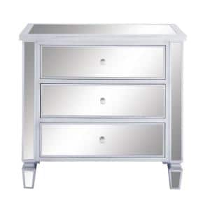 Retro Modern Wooden Console Cabinet with Mirrored Panels