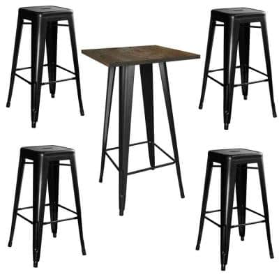 Loft Style 24 in. x 24 in. Bar Table Set in Black with Stackable Metal Stools (5-Piece)