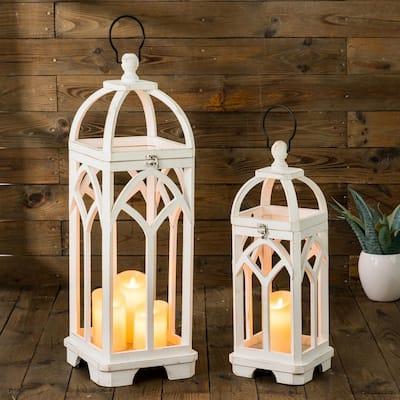 Wash White Farmhouse Wooden Church Window Frame Lanterns (Set of 2)