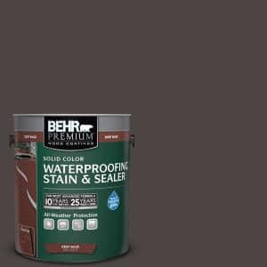 1 gal. #SC-104 Cordovan Brown Solid Color Waterproofing Exterior Wood Stain and Sealer