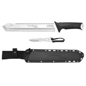 Carnivore Inject 18 in. Full-Tang Titanium Stainless Steel Machete with Molded Sheath and Bonus Trimming Knife