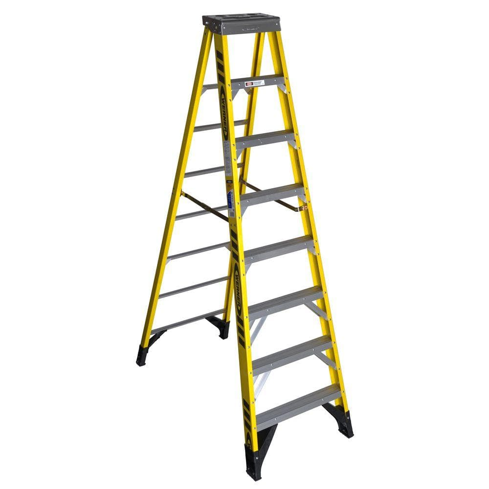 Werner 10 Ft Yellow Fiberglass Step Ladder With 375 Lbs Load Capacity Type Iaa Duty Rating 7310 The Home Depot