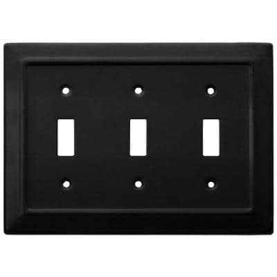 Black 3-Gang 3-Toggle Wall Plate (1-Pack)