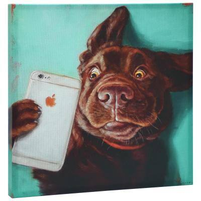 """""""Dog Selfie"""" Graphic Art Print on Wrapped Canvas Dog Wall Art"""