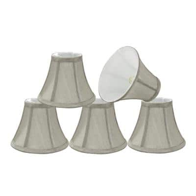 6 in. x 5 in. Grey Bell Lamp Shade (5-Pack)