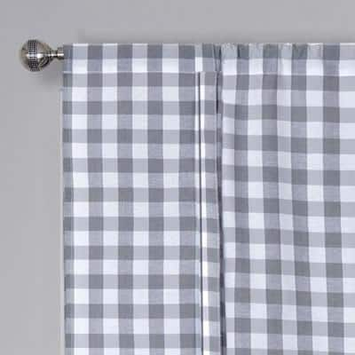 Buffalo Check 42 in. W x 63 in. L Polyester/Cotton Light Filtering Window Panel in Grey