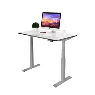 54 in. Rectangular White/Gray Standing Desks with Adjustable Height