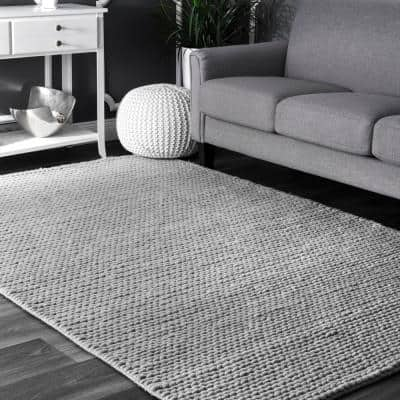 Caryatid Chunky Woolen Cable Light Gray 10 ft. x 14 ft. Area Rug