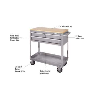 36 in. 3-Drawer with Solid Wood Top, Stainless Steel Utility Cart