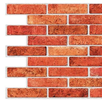3D Falkirk Retro III 38 in. x 20 in. Red Faux Brick PVC Decorative Wall Paneling (5-Pack)