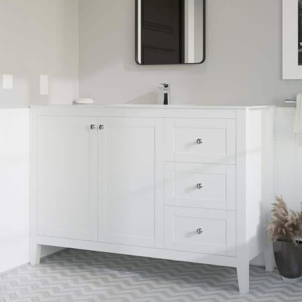 Swiss Madison Cannes 48 In Single 2 Doors 3 Drawers Bathroom Vanity In White With White Countertop With White Basin Sm Bv414 The Home Depot