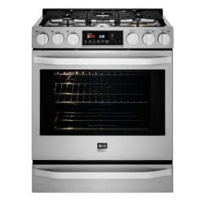 6.3 cu. ft. Smart Slide-In Gas Range with ProBake Convection Oven & Self-Clean in Stainless Steel