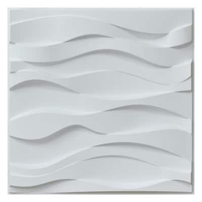 Wavy Shape Decorative Wall Panels 19.7 in. x 19.7 in PVC 3D Wall Panels in White for Interior Decor 12-Panels