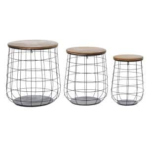 Brown Metal Farmhouse Storage Basket 23 in., 20 in., and 18 in. (Set of 3)