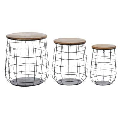 Set of 3 Weave Baskets with Wooden Lids