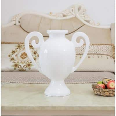 20 in. White Gloss Fiberglass Amphora Style Modern Centerpiece Vase