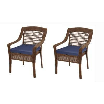 Spring Haven 18 x 18 Outdoor Dining Chair Replacement Cushion in Midnight Blue (2-Pack)