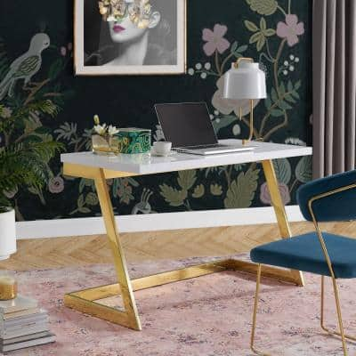 Oline White/Gold Writing Desk High Gloss Lacquer Finish Top