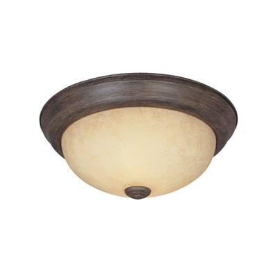 """Decorative Flushmount 15"""" Large 3-Light Warm Mahogany Ceiling Flush Mount"""