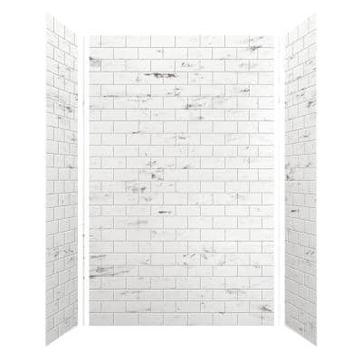 SaraMar 36 in. x 60 in. x 96 in. 3-Piece Easy Up Adhesive Alcove Shower Wall Surround in White Venito