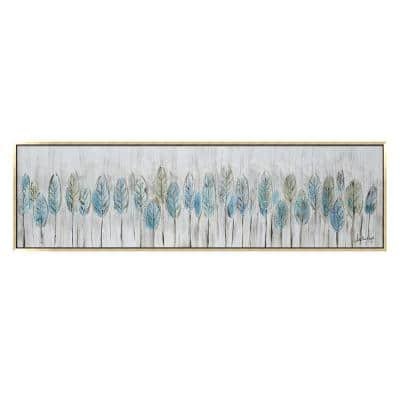 """""""Blue Feathers in. Gold Wooden Floating Frame Hand Painted Acrylic Wall Art 71 in. x 20 in."""