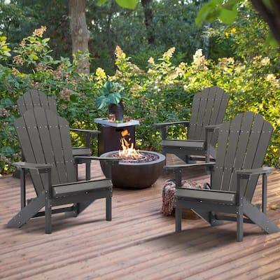 Gray Reclining Platic Adirondack Chair (Set of 4)