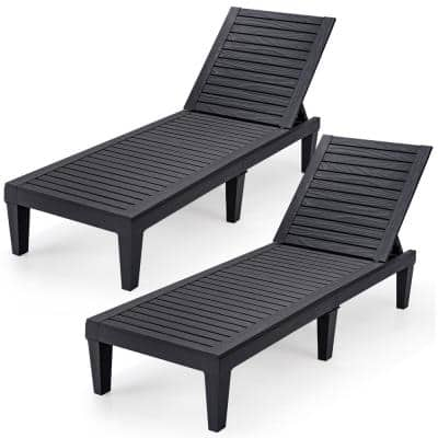 Black Plastic Patio Outdoor Chaise Lounge Chair Recliner with Adjustable Backrest (Set of 2)