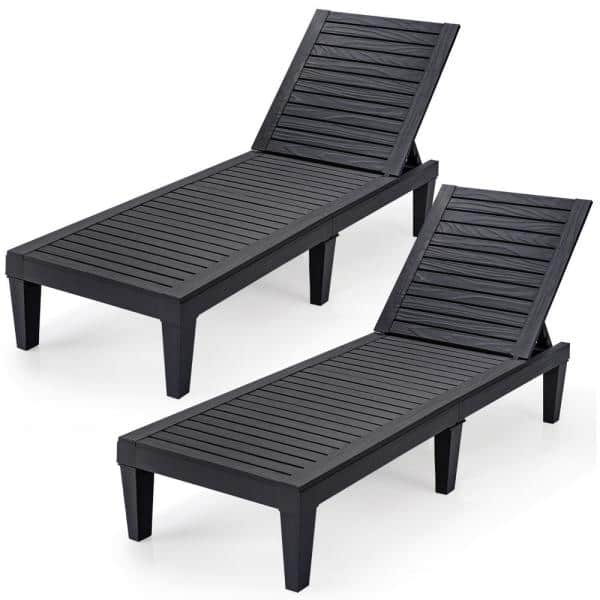 Black Plastic Patio Outdoor Chaise, Chaise Lounge Chairs Outdoor Plastic
